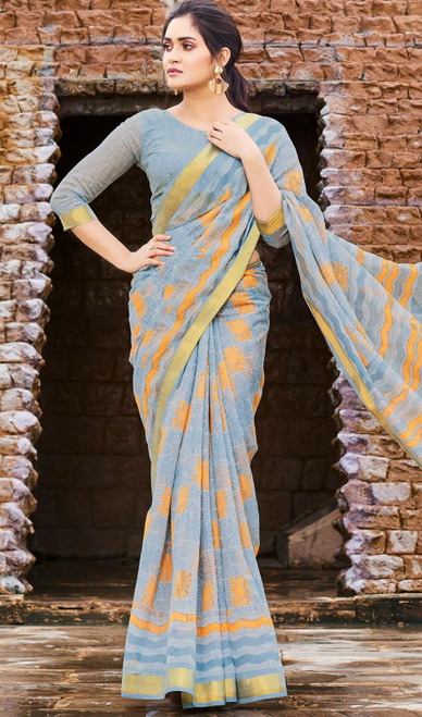 Gray Color Printed Cotton Saree