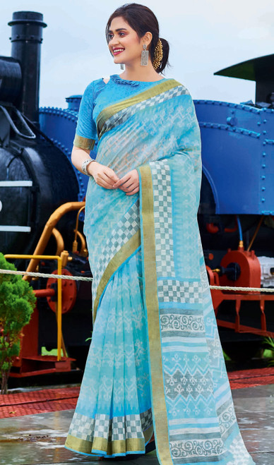 Printed Cotton Sky Blue Color Saree