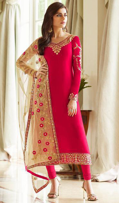Georgette Embroidered Churidar Suit in Tomato Red Color