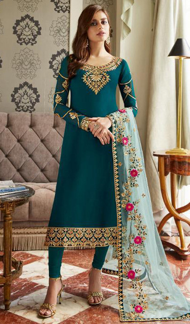 Georgette Embroidered Churidar Suit in Teal Blue Color
