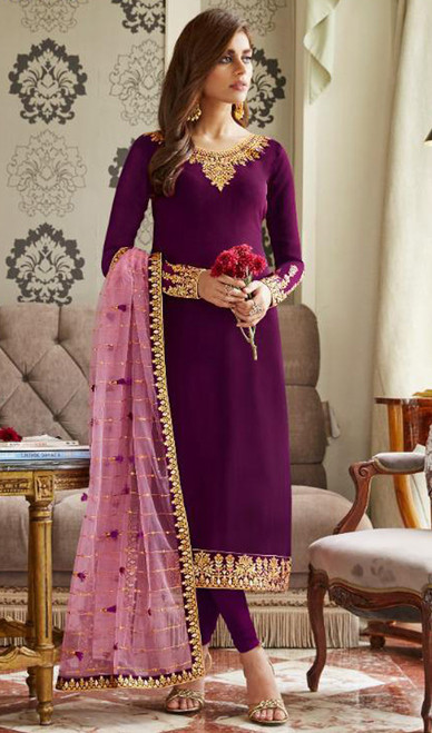 Georgette Embroidered Churidar Suit in Magenta Color