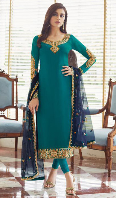Georgette Embroidered Churidar Suit in Firozi Color