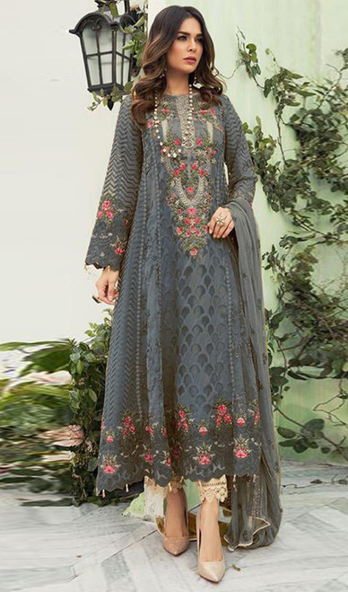 Georgette Designer Embroidered Pant Style Suit in Gray Color