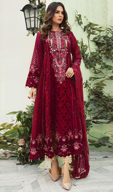 Georgette Designer Embroidered Pant Style Suit in Maroon Color