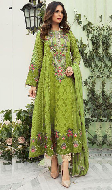Georgette Designer Embroidered Pant Style Suit in Parrot Green Color