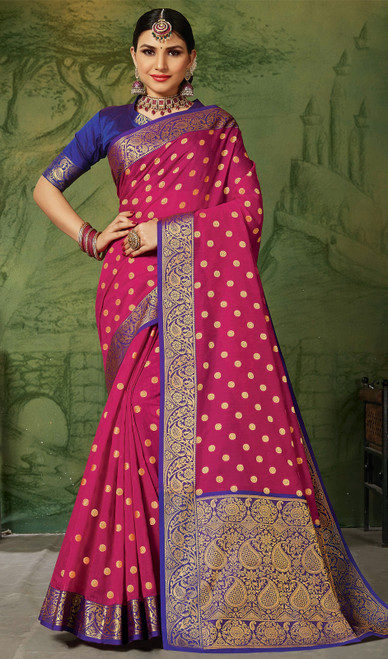 Silk Weaving  Rani Pink Color Sari