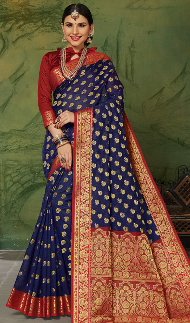 Silk Navy Blue Color Weaving Sari