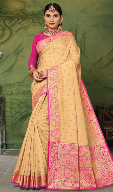 Silk Cream Color Weaving Sari