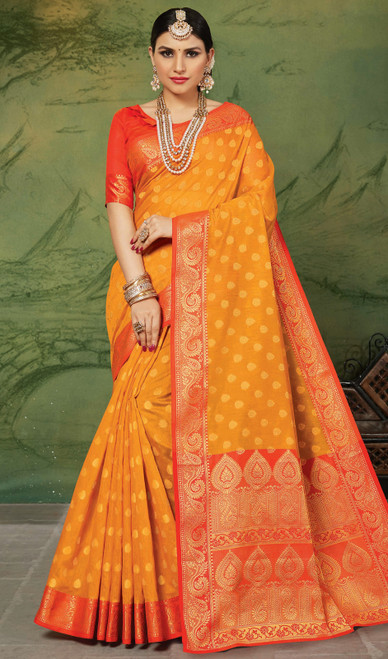 Silk Orange Color Weaving Sari