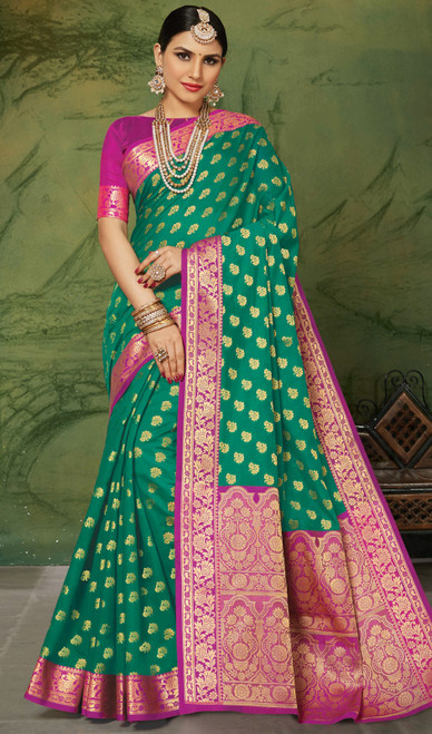 Silk Green Color Weaving Sari