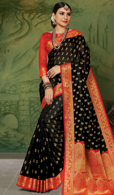 Silk Black Color Weaving Sari