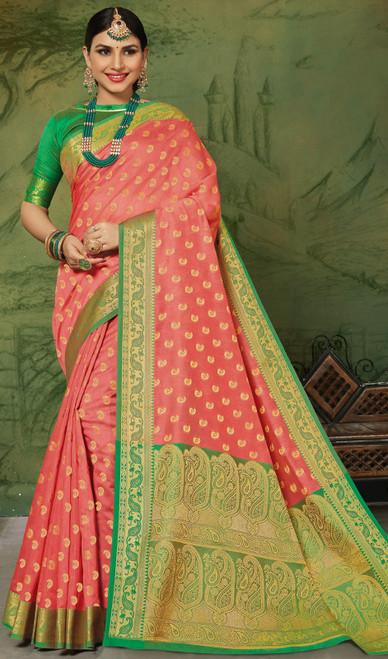 Silk Peach Color Weaving Sari