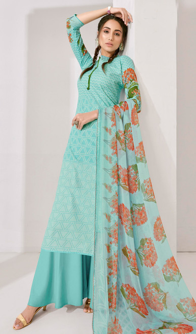 Sky Blue Color Loan Cotton Printed Palazzo Suit