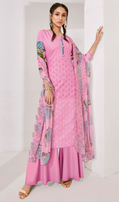 Light Pink Color Loan Cotton Printed Palazzo Suit