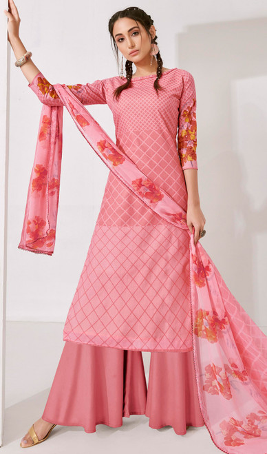 Rose Pink Color Loan Cotton Printed Palazzo Suit