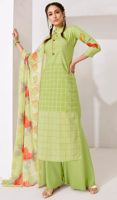 Light Green Color Loan Cotton Printed Palazzo Suit
