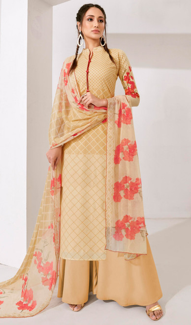 Cream Color Loan Cotton Printed Palazzo Suit