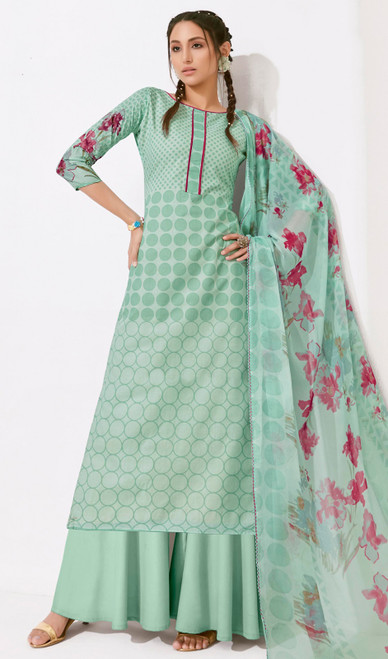 Sea Green Color Loan Cotton Printed Palazzo Suit
