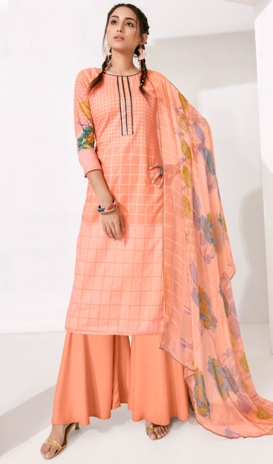 Creamy Orange Color Loan Cotton Printed Palazzo Suit