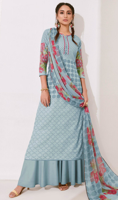Steel Blue Color Loan Cotton Printed Palazzo Suit