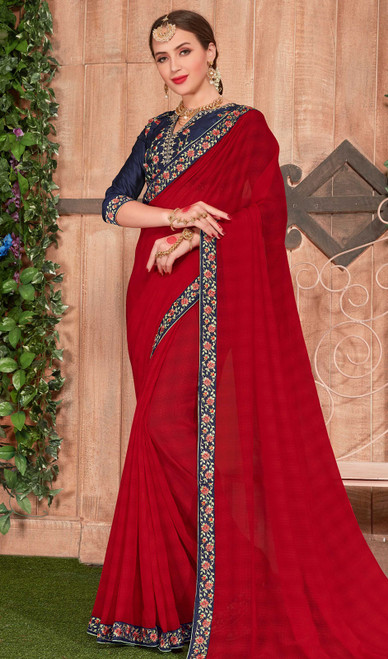 Fancy Fabric Embroidered Saree in Red Color