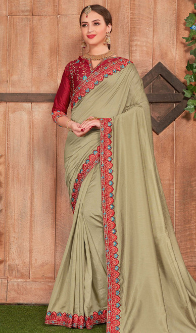 Fancy Fabric Embroidered Saree in Beige Color
