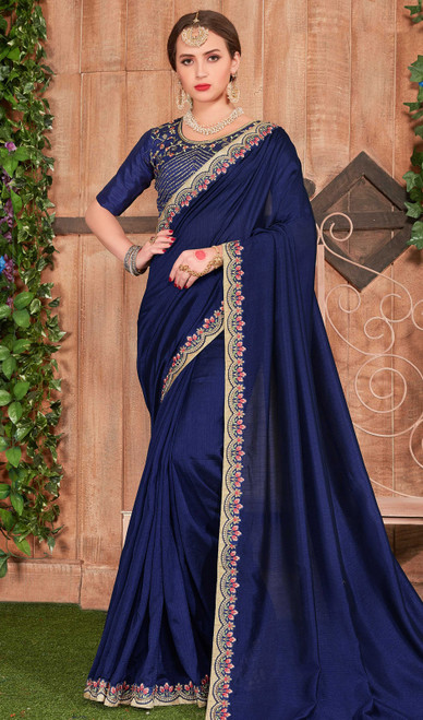 Fancy Fabric Embroidered Saree in Navy Blue Color