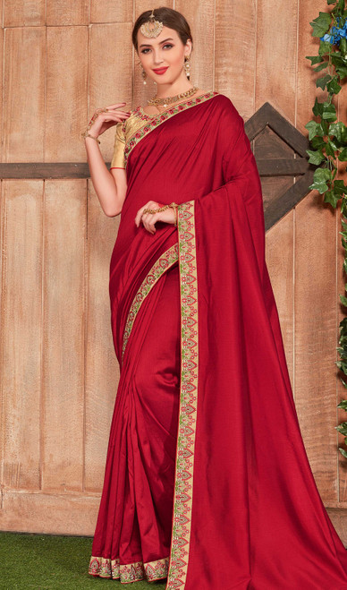 Fancy Fabric Red Color Embroidered Saree