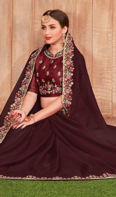 Fancy Fabric Embroidered Saree in Brown Color
