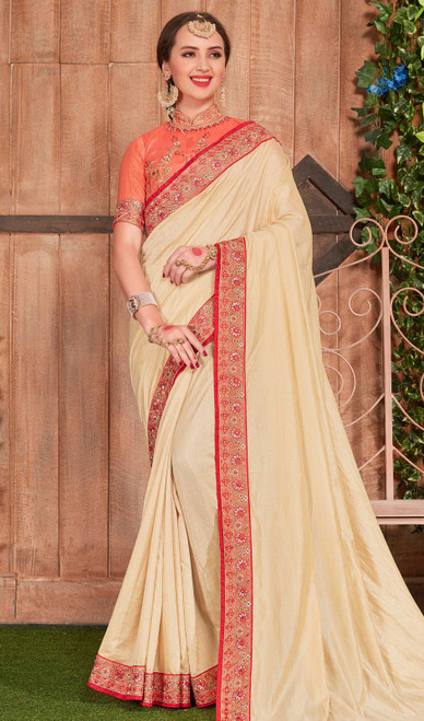 Fancy Fabric Embroidered Saree in Cream Color