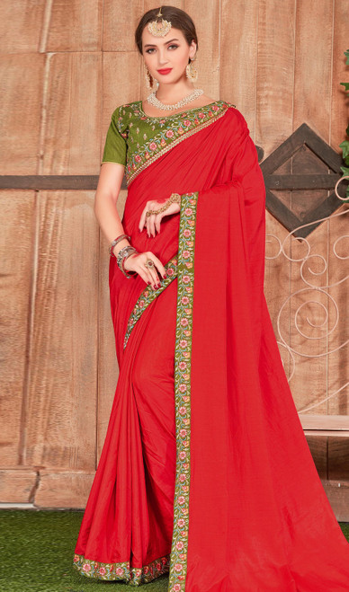 Red Color Fancy Fabric Embroidered Saree