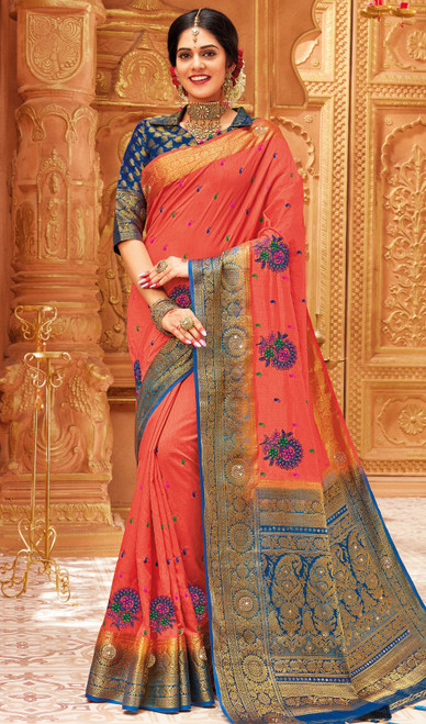 Coral Color Weaving Silk Sari