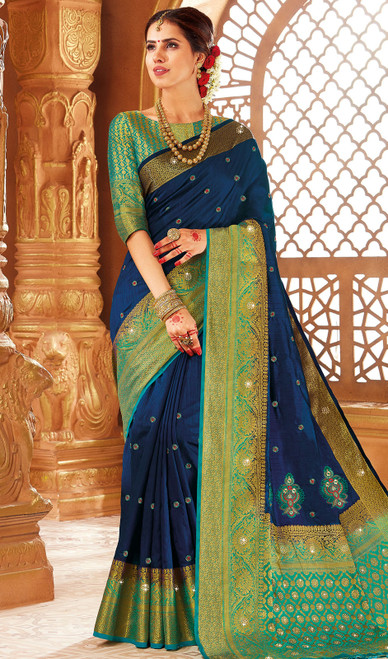 Blue Color Weaving Silk Sari