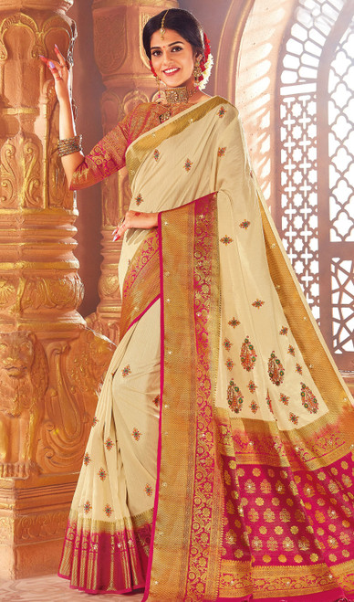 Cream Color Weaving Silk Sari