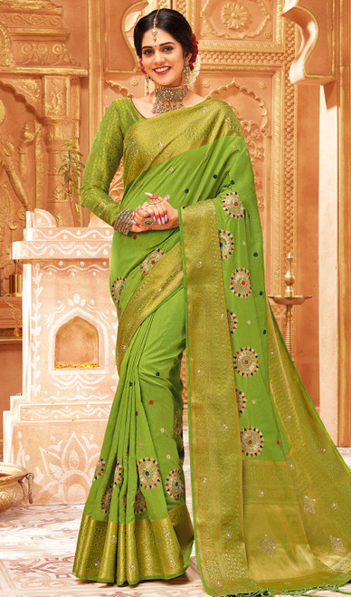Parrot Green Color Weaving Silk Sari