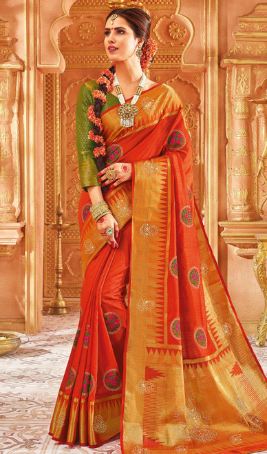 Rust Orange Color Weaving Silk Sari