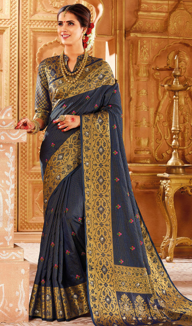 Navy Blue Color Weaving Silk Sari