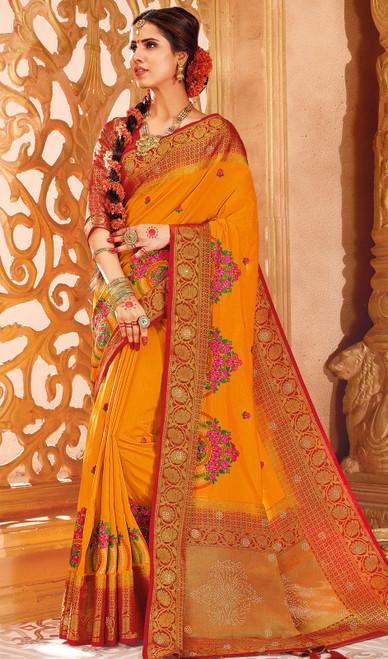 Mustard Yellow Color Weaving Silk Sari