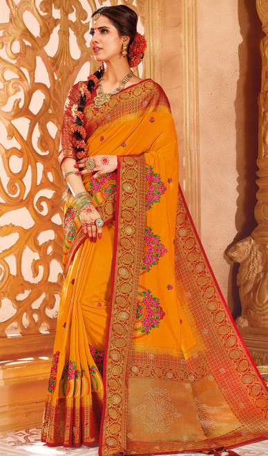 Mustard Yellow Color Weaving Silk Sari