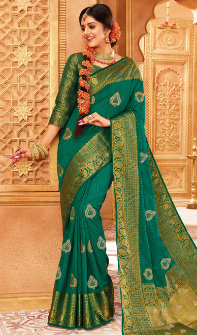Green Color Indian Weaving Silk Sari