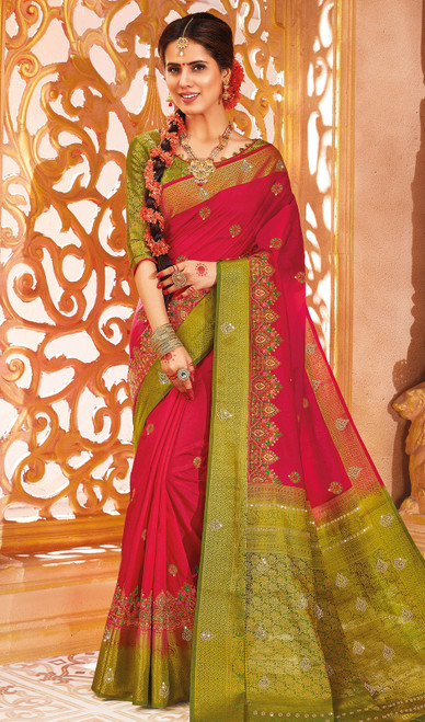 Red Color Traditional Weaving Silk Sari
