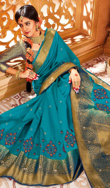 Rama Blue Color Weaving Silk Sari