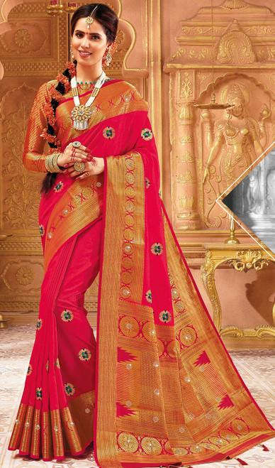 Pink Color Indian Weaving Silk Sari
