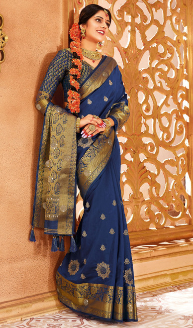 Silk Weaving Navy Blue Color Sari