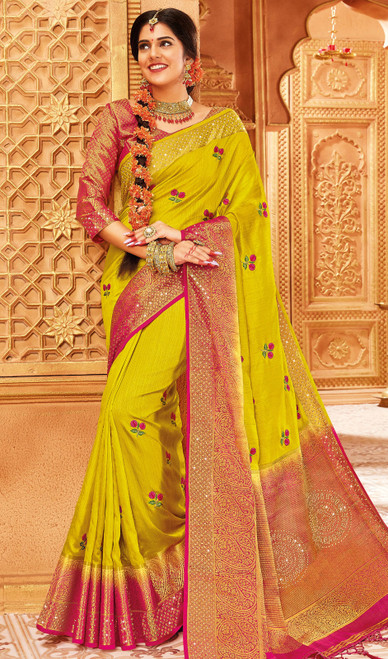 Yellow Color Traditional Weaving Silk Sari