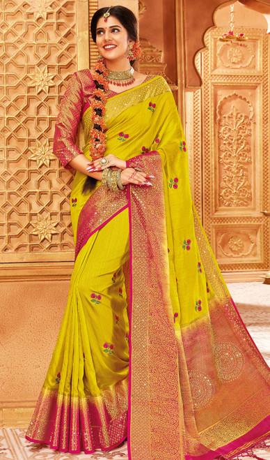 Yellow Color Traditional Weaving Silk Sari