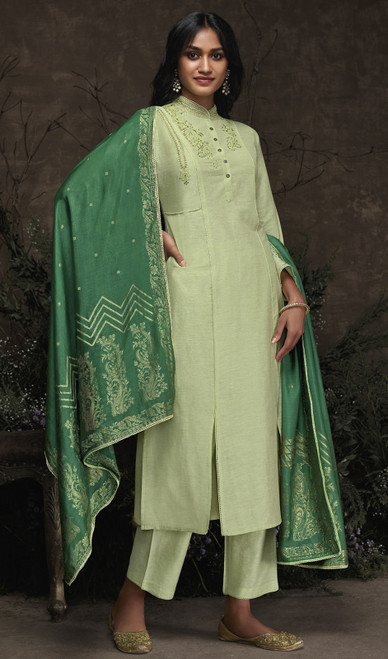 Aaria Silk Embroidered Pant Style Suit in Dusty Green Color