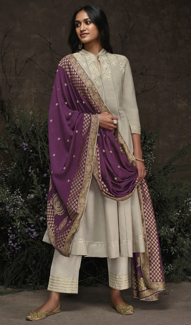 Aaria Silk Embroidered Pant Style Suit in Light Gray Color