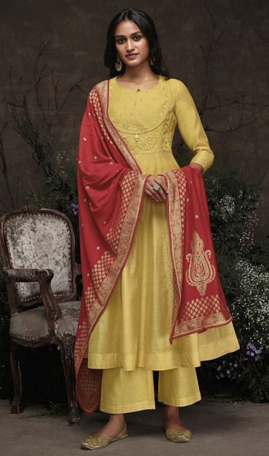 Aaria Silk Embroidered Pant Style Suit in Lemon Yellow Color