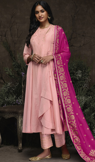 Aaria Silk Embroidered Pant Style Suit in Baby Pink Color